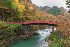 Shinkyo Bridge during Autumn in Nikko, Tochigi, Japan Royalty Free Stock Photo