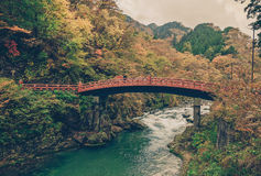 Shinkyo Bridge during Autumn in Nikko, Tochigi, Japan ,vintage Stock Photos