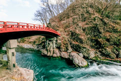 Shinkyo Bridge in Nikko, Japan. 11/01,Red sacred bridge in Nikko Royalty Free Stock Photography