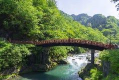 Shinkyo (Sacred Bridge) at Nikko, Japan. With mountains and river Royalty Free Stock Photography