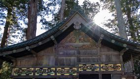 Shinkyusha-ιεροί σταθερός-και sanzaru-τρεις σοφοί πίθηκοι στη λάρνακα Toshogu στοκ εικόνες