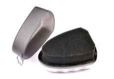 Shinner negro de la esponja del zapato Imágenes de archivo libres de regalías