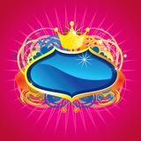 Shinning blue crest. Blue Crest With Golden Borders And A Crown, Over A Star, Heart And Circle Background On Pink Royalty Free Stock Photos