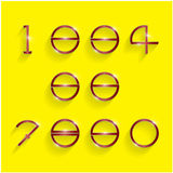 Shinning circle digit style on yellow background. Stock Images