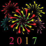 Shinning Colorful Starry Fireworks on Black. New Year 2017. Royalty Free Stock Photography