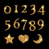 Shinning Golden Numbers and moon star heart pattern Stock Photography