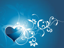 Shinning heart with floral elements, illustration Royalty Free Stock Photography