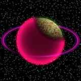 Shinning planet in far uniferse. Abstract planet with colorful ring somewhere Stock Photography