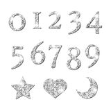 Shinning Silver Numbers and moon star heart pattern Royalty Free Stock Image
