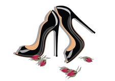 Shinning skor för härlig svart Royaltyfri Foto