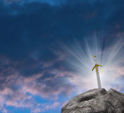 Shinning Sword In Stone Fantasy Illustration Royalty Free Stock Images