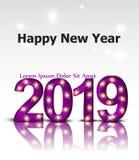 2019 shinny światło teksta karty wektor Szczęśliwe nowego roku szablonu zaproszenia lub układu karty ilustracja wektor