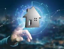 Shinny a casa de prata indicada em uma relação futurista - 3d ren Imagens de Stock Royalty Free