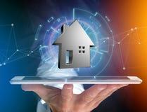 Shinny a casa de prata indicada em uma relação futurista - 3d ren Imagens de Stock