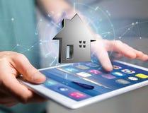 Shinny a casa de prata indicada em uma relação futurista - 3d ren Fotografia de Stock