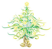 Shinny Christmas tree with curves and elements Stock Image