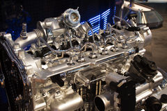 Shinny engine. In exhibit with apparent injection system Stock Photo