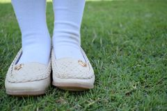 Shinny footwear on the grass. Girl with beautiful shoes. Leather shoes isolated on a grass royalty free stock photography