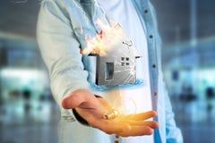 Shinny ha danneggiato la casa d'argento visualizzata su un'interfaccia futuristica Immagine Stock