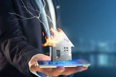 Shinny ha danneggiato la casa d'argento visualizzata su un'interfaccia futuristica Immagini Stock
