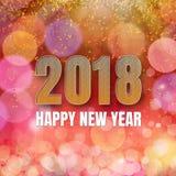 Shinny Kwadratowego karcianego Szczęśliwego nowego roku 2018 royalty ilustracja