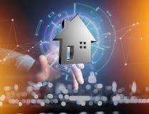 Shinny la casa d'argento visualizzata su un'interfaccia futuristica - 3d ren Fotografia Stock
