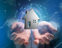 Shinny la casa d'argento visualizzata su un'interfaccia futuristica - 3d ren Immagini Stock Libere da Diritti