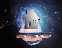 Shinny la maison argentée montrée sur une interface futuriste - 3d ren Images libres de droits