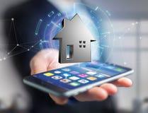 Shinny la maison argentée montrée sur une interface futuriste - 3d ren Photographie stock libre de droits