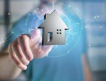 Shinny la maison argentée montrée sur une interface futuriste - 3d ren Images stock