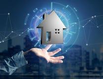 Shinny la maison argentée montrée sur une interface futuriste - 3d ren Photo libre de droits