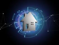 Shinny la maison argentée montrée sur une interface futuriste - 3d ren Image libre de droits