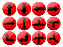 Shinny los botones rojos de la flecha Imágenes de archivo libres de regalías