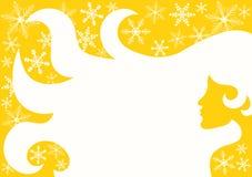 Shinny o cabelo da mulher do inverno de Sun ilustração stock