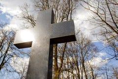 Shinny o símbolo transversal da ressurreição e do salvação de Jesus Christ fotografia de stock