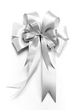 Shinny silver ribbon bow for gift box Stock Image
