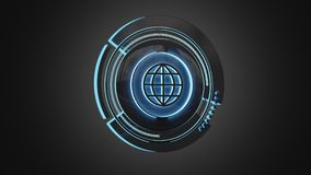 Shinny technologic globe button isolated on an uniform backgroun. View of a Shinny technologic globe button isolated on an uniform background - 3d render Stock Photos