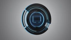 Shinny technologic komputerowego guzika odizolowywającego na jednolitym tle - 3d odpłacają się ilustracji