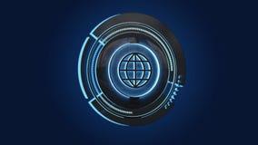 Shinny technologic kula ziemska guzika odizolowywającego na jednolitym tle - 3d odpłacają się ilustracja wektor