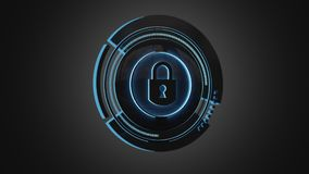 Shinny technologic locker security button isolated on an uniform. View of a Shinny technologic locker security button isolated on an uniform background - 3d Stock Photography