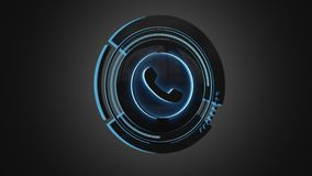 Shinny technologic phone button isolated on an uniform backgroun. View of a Shinny technologic phone button isolated on an uniform background - 3d render Royalty Free Stock Image