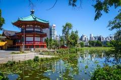 Shinobazu pond and Benten Hall Temple, Ueno, Tokyo, Japan. Shinobazu pond and Benten Hall Temple in Ueno, Tokyo, Japan Stock Photo