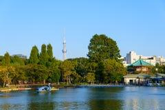 Shinobazu Pond and Tokyo Skytree Royalty Free Stock Photo