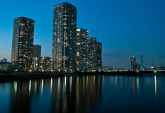 Shinonome buildings in Tokyo. Modern district in Tokyo bay Royalty Free Stock Images