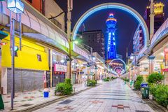 Shinsekai Distrit de Osaka, Japón imagen de archivo libre de regalías