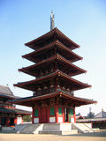 Shintennoji Temple's Pagoda - Osaka, Japan. Founded by Prince Shotoku in 593, Shintenno-ji is known to be the oldest Buddhist temple in Japan. It is said that Royalty Free Stock Photography