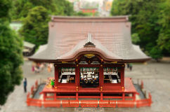 Shinto Dance Stage. A Shinto dance stage at Tsurugaoka Hachiman-gu, the most important Shinto Shrine in Kamakura, Japan, with tilt-shift focus royalty free stock photography
