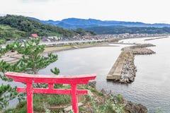 A Shinto gateway on Benten rock. Stock Photo