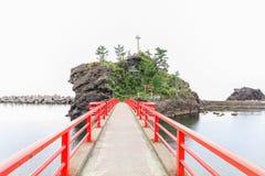 A Shinto gateway on Benten rock. Stock Photos