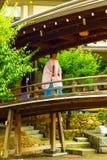 Shinto Priest Kannushi Robe Walking Wooden Bridge Stock Photo